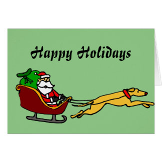 Funny Greyhound Pulling Christmas Sleigh Card