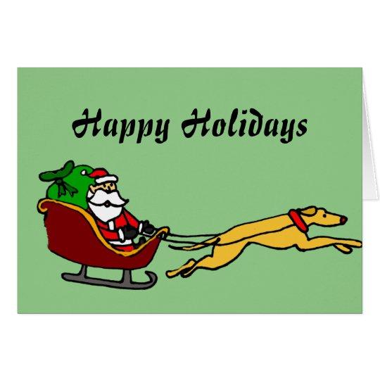 Funny Greyhound Pulling Christmas Sleigh Card