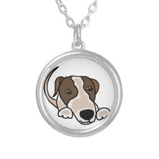 Funny Greyhound Puppy Dog Cartoon Round Pendant Necklace