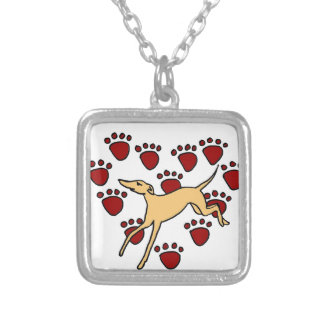 Funny Greyhound Puppy Love Personalized Necklace
