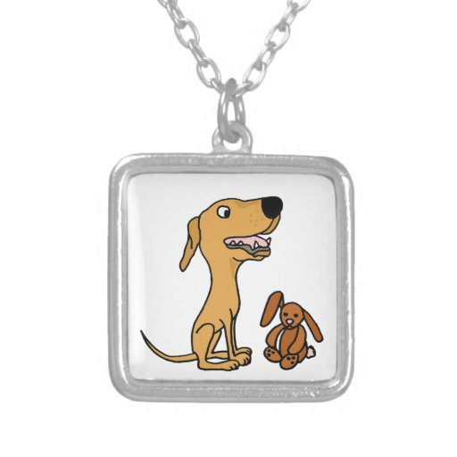 Funny Greyhound Puppy with Bunny Necklaces