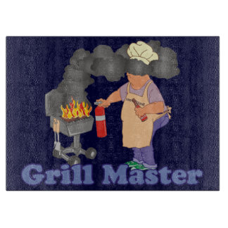 Funny Grill Master Barbecue Blue Cutting Boards