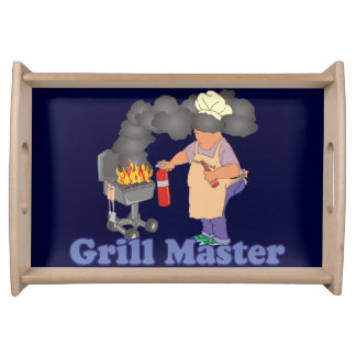 Funny Grill Master Barbecue Blue Serving Tray