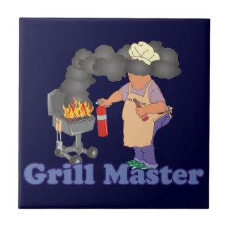 Funny Grill Master Barbecue Small Square Tile