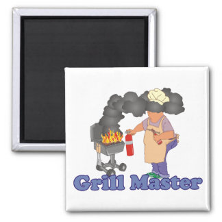Funny Grill Master Barbecue Square Magnet