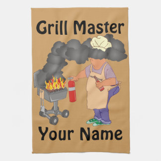 Funny Grill Master Personalized Tea Towel