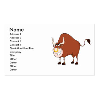 funny grinning bull cartoon character business cards