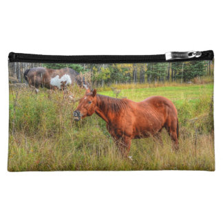 Funny Grinning Chestnut Mare & Pasture Photo Makeup Bags