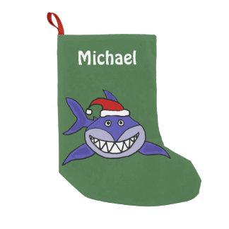 Funny Grinning Shark in Santa Hat Small Christmas Stocking
