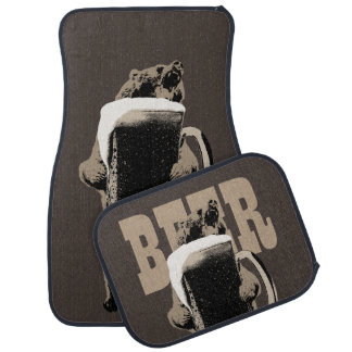 Funny Grizzly Bear & Beer Car Mat