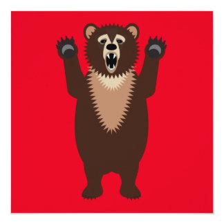 Funny Grizzly Bear Cartoon 13 Cm X 13 Cm Square Invitation Card