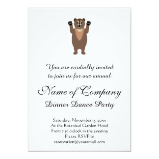 Funny Grizzly Bear Cartoon 13 Cm X 18 Cm Invitation Card