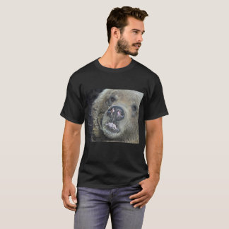 Funny Grizzly Bear Cub Licking The Glass Window T-Shirt