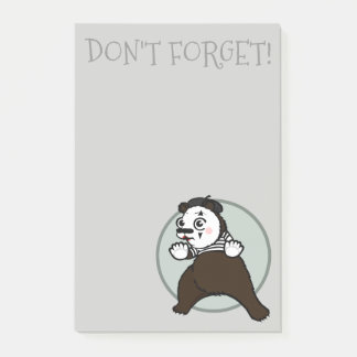 FUNNY GRIZZLY BEAR MIME GRAPHIC POST-IT NOTEPAD