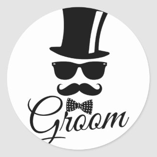 Funny groom round sticker