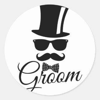 Funny groom classic round sticker