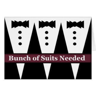 FUNNY Groomsman Invite with Three Tuxes Greeting Card