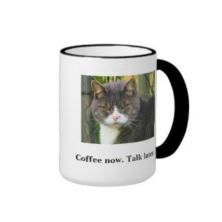FUNNY Grumpy Cat Coffee Mug. Morning Coffee Cup. Ringer Mug