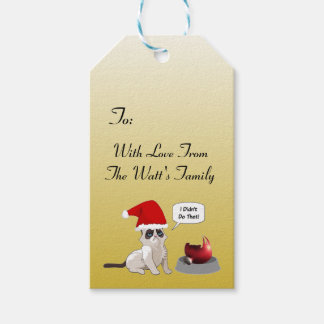 Funny Grumpy Kitten Christmas Gift Tags