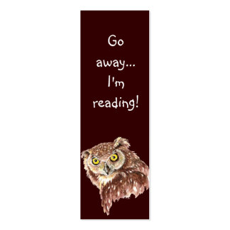 Funny Grumpy Owl Go Away I m Reading Bookmark Business Card Templates