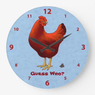 Funny Guess Who Chicken Poo Red Hen Large Clock