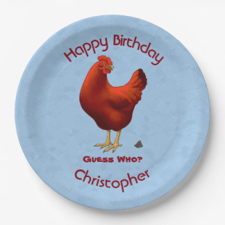 Funny Guess Who Chicken Poo Red Hen Paper Plate