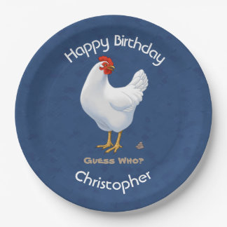 Funny Guess Who Chicken Poo White Hen Paper Plate