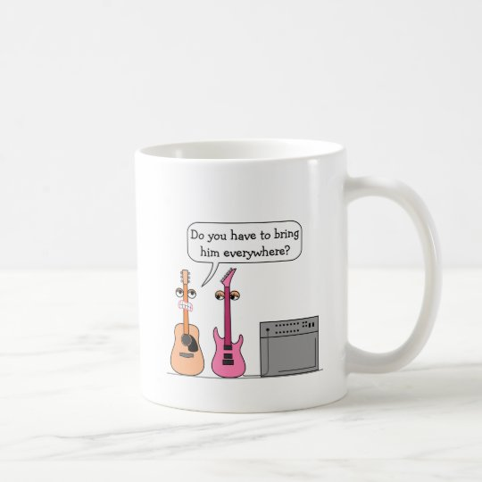 Funny Guitar Third Wheel Cartoon Scene Coffee Mug