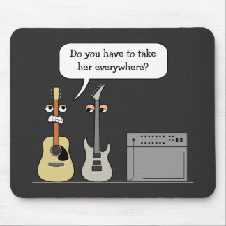 Funny Guitar Third Wheel Cartoon Scene Mouse Mat