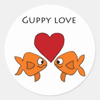 Funny Guppy Love Design Classic Round Sticker