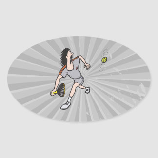 funny guy playing tennis oval sticker