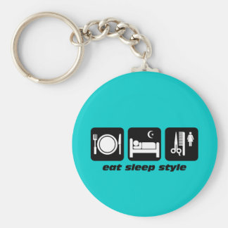 Funny hair stylist basic round button key ring