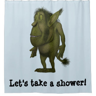 Funny Hairy Ogre Design Shower Curtain
