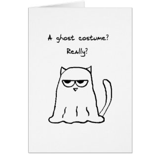 Funny Halloween - Angry Cat in a Ghost Costume Greeting Card