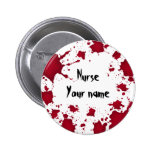 Funny Halloween bloody psycho Nurse Pinback Buttons