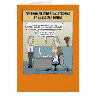 Funny Halloween card: Elderly Zombie Card