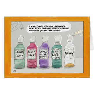 Funny Halloween Cartoon Greeting Card: Potions... Card