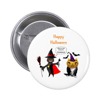 Funny Halloween Cat and Kitten Pin Buttons