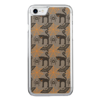 Funny Halloween Cat and Web Pattern Carved iPhone 7 Case