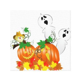 Funny Halloween Ghosts and Pumpkins Gallery Wrap Canvas
