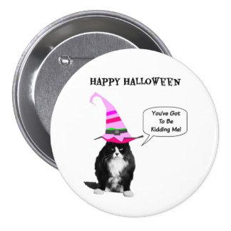 Funny Halloween Grumpy Cat Round Button