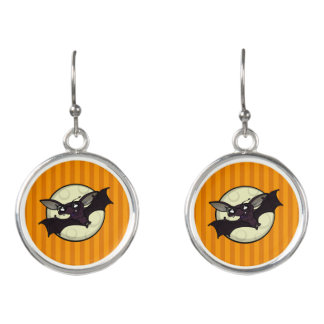 FUNNY HALLOWEEN HIPSTER BAT ROUND EARRINGS