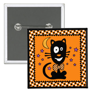 Funny Halloween Kitty Button (Squ)