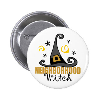 Funny Halloween Neighborhood Witch Button