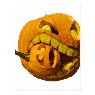 Funny Halloween Pumkin Head Postcard