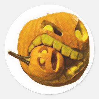 Funny Halloween Pumkin Head Round Sticker
