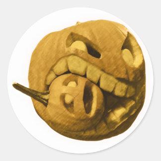 Funny Halloween Pumkin Head (Vintage Version) Round Sticker