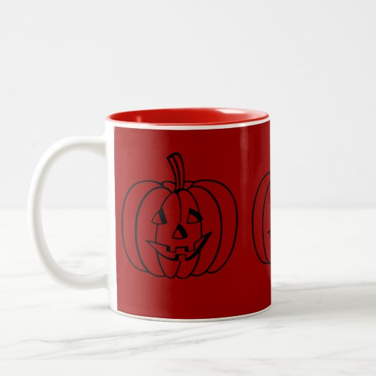 Funny Halloween pumpkin with cut out face Two-Tone Coffee Mug