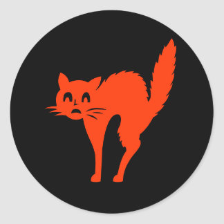 Funny Halloween Scary Cat Holiday Black Orange Round Sticker