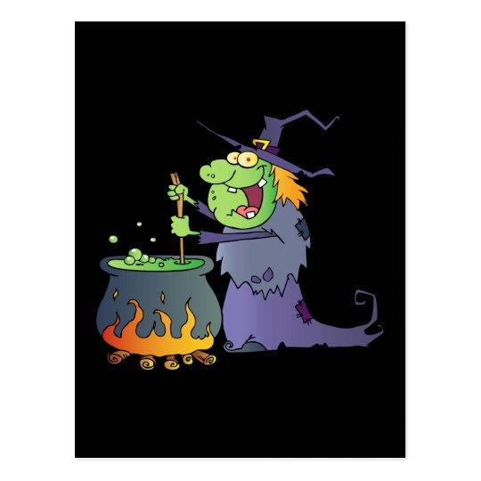 Funny Halloween witch cartoon Postcard